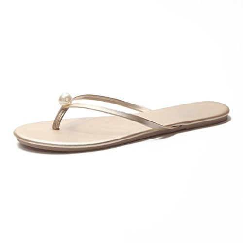 Chaussons Sandales Femme Été Fashion Amants Slip Slip Beach Tongs (Couleur : Or, Taille : 5.0 UK)