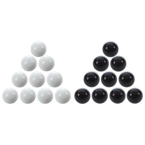 Youmine 20 Unids Canicas 16Mm Canicas de Vidrio Knicker Bolas de Cristal DecoracióN Color Nuggets Juguete Blanco y Negro