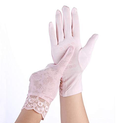 Lady Lace Sonnenschutzhandschuhe Frühling Sommer Frauen Stretch Dünne Atmungsaktive Handschuhe Touchscreen Anti-UV-rutschfeste Fahrhandschuhe-Baby pink