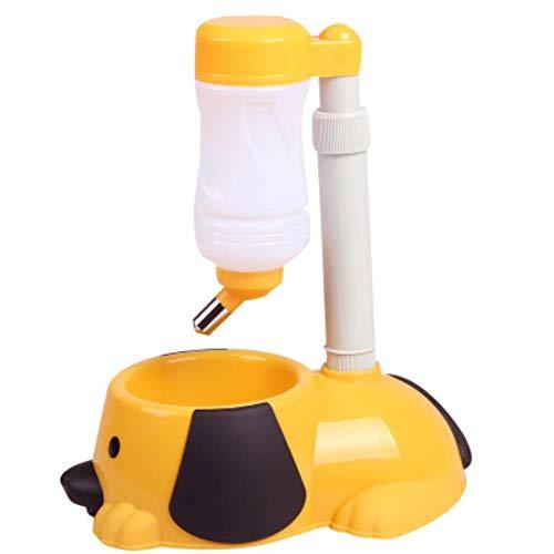 WonderfulDay Mascota Máquina expendedora de Alcohol Soporte de Comida Hamster Alimentador Plato Tazón Botella Perros Gatos Cachorro, Amarillo