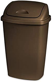 STERILITE 13.2 Gallon Swing Top Liner Lid Wastebasket Bronze, Case of 4
