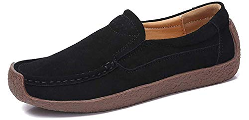 AARDIMI Mokassins Damen Bootsschuhe Loafers Halbschuhe Casual Fahren Schuhe Wildleder Slip on Slipper Erbsenschuhe (41 EU, Schwarz)