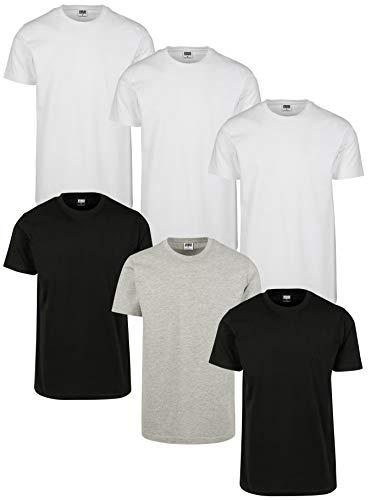 Urban Classics Herren Basic Tee 6-Pack T-Shirt, 3X Weiß 2X Schwarz 1x Grau, Large (Herstellergröße: L) (6er Pack)