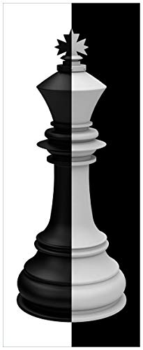 Wallario Acrylglasbild XXL Schachfigur schwarz-weiß - 80 x 200 cm in Premium-Qualität: Brillante Farben, freischwebende Optik