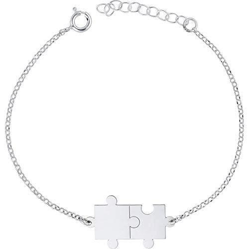 doble aro - Pulsera Puzzle en Plata de Ley - Ideal para Enamorados - Regalo mujer o niña - Largo de 16cm + 3cm de alargador