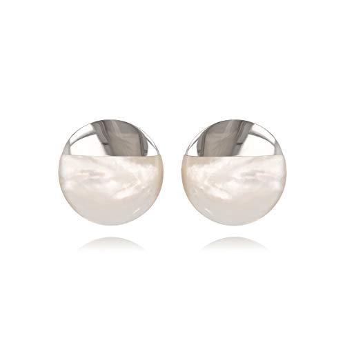 ADEN – Ohrringe, Perlmutt-Scheibe, Weiß, mit rhodiniertem Silber