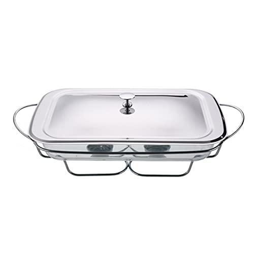 Chafing Dishes Buffetvoedselverwarmer, met deksel van roestvrij staal en ovenveilige glazen warmhoudschaal-Silver