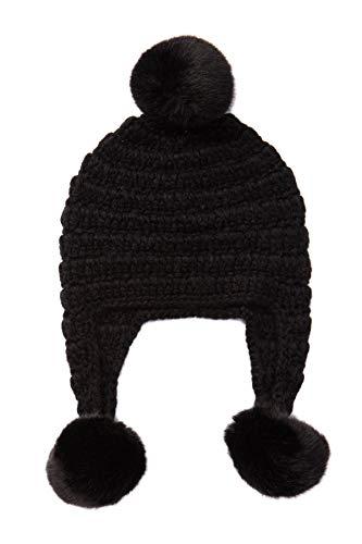 Michael Kors Women's Crochet Trapper Hat with Faux Fur Pom (Black)