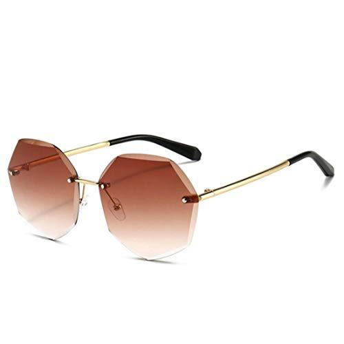 QSMIANA Gafas de sol Gafas De Sol Redondas Sin Montura Mujer Gafas De Sol De Gran Tamaño Mujer Vintage