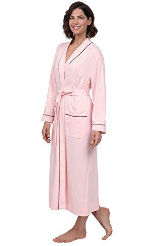 PajamaGram Ladies Bathrobe Soft Knit - Long Bathrobe Womens, Pink, 1X, 16-18
