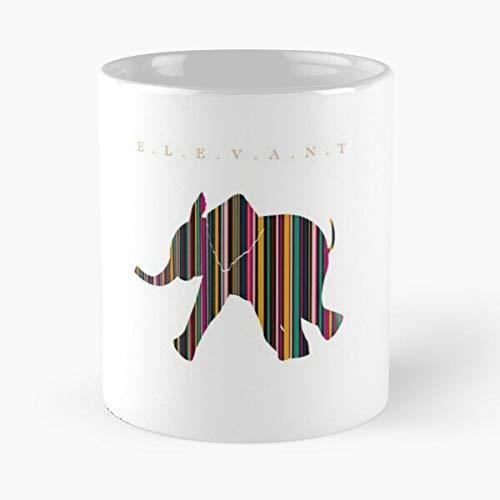 African Animals Line Elephant Art Eat Food Bite John Best Taza de café de cerámica de 325 ml