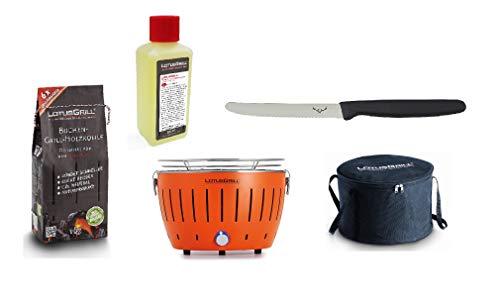 LotusGrill Small Kompakt Starter-Set Mandarinenorange der raucharme Holzkohlegrill mit 1 kg Buchenholzkohle, 200 ml Brennpaste, 1x Allzweckmesser und 1x Tasche. Stromversorgung via USB oder Powerbank