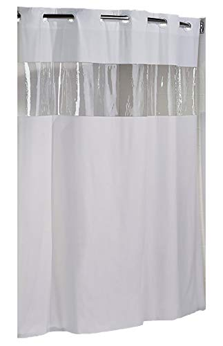 Hookless HBH08VIS01 Vision Shower Curtain White With Clear Top 71' x 74'