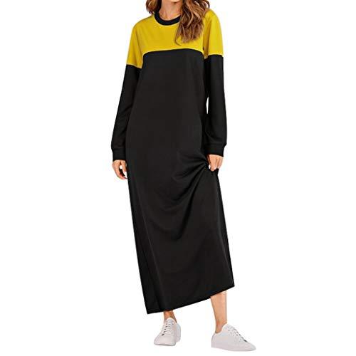 Geilisungren Vestidos Mujer Mujeres Maxi Vestido de Manga Larga seoras Casuales Sudaderas Vestidos Largos, Mujer Sudadera Vestido de Manga Larga Delgado Sudadera con Vestidos Loose