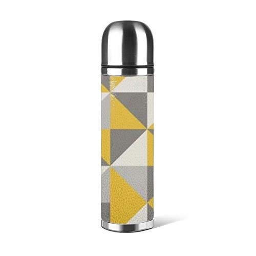 Art Fan-Design - Botella de agua de acero inoxidable con diseño de triángulo retro en lona amarilla y gris aislada al vacío de cuero a prueba de fugas de doble pared contenedor de viaje termo de 500 ml