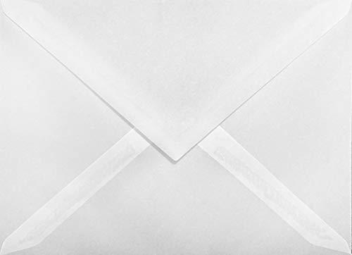 25 weiß - transparente C6 Briefumschläge, 114x162mm, 110g, Spitzklappe, ideal für Geburtstag, Weihnachten, Hochzeit, Einladungen, Grußkarten, Visitenkarten, Flyer, Werbepost