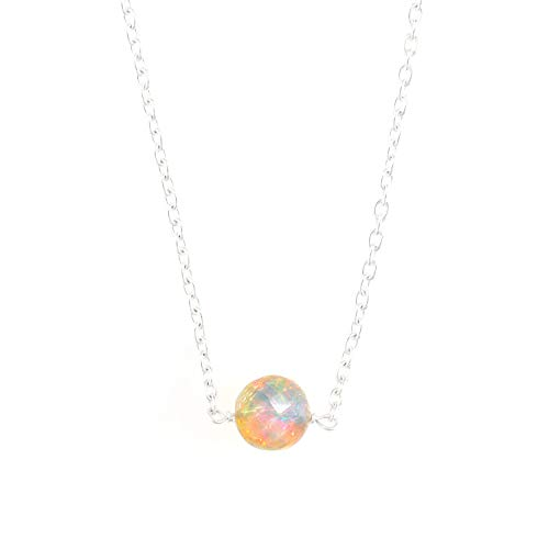 OOAK by Virat Viel Glück Halskette, natürliche Opal Perlenkette, Frauen Halskette in Sterling Silber 18 Zoll, Oktober Birthstone, zierlicher Anhänger