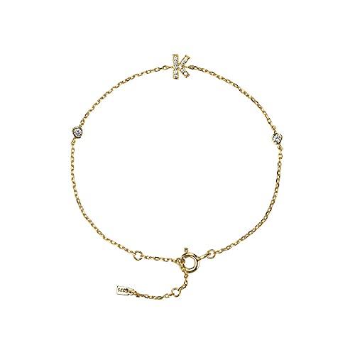 925 plata inicial 26 letras alfabeto monograma pulsera de oro con nombre cristal circón joyería de moda-KGOLD_18cm