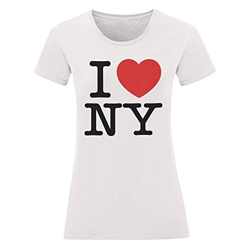LaMAGLIERIA Damen-T-Shirt I Love NY - t-Shirt New York 100% Baumwolle, M, weiß