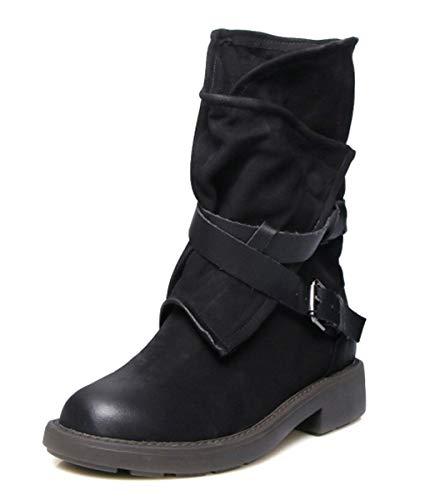 Minetom Damen Stiefel Stiefeletten Leder Retro Boots Mode Ledergürtel Casual Chic Elegant Flache Schuhe Winter Herbst Schwarz 43 EU