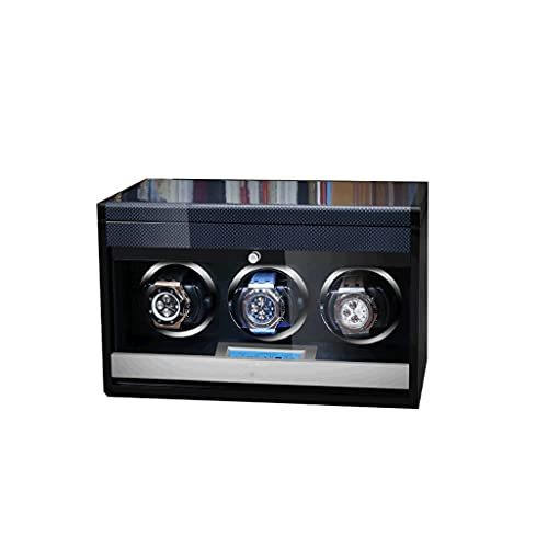 LRBBH Cajas Giratorias para Relojes Nueva Versión 3 Ranuras Silencioso Motor Agitación Caja Enrolladora Madera para Relojes Automáticos Fácil Acceso