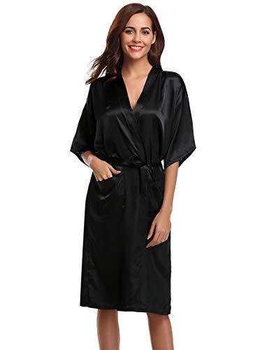 Hawiton Kimono Mujer Bata Saten Manga Corta Novia Albornoz Boda Pijama de Seda Vestidos con Cinturilla Elegante Ropa de Dormir Verano