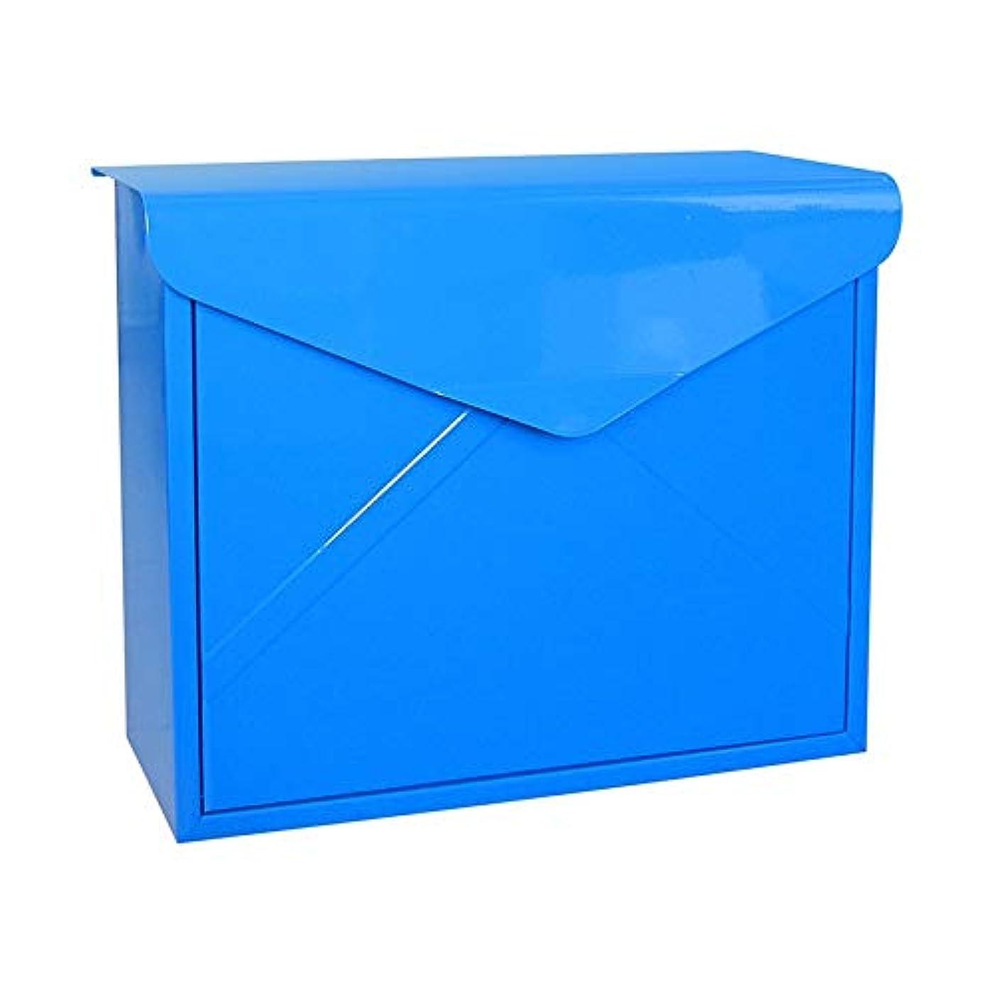 ブレーク支出政治的壁に取り付けられた郵便箱、屋外のロックできる鉄のレターボックス (色 : 青)
