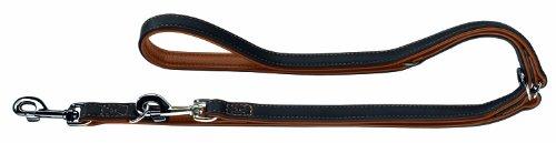 HUNTER CANADIAN Verstellbare Hundeführleine , Leder, hochwertig, weich, 2,0 x 200 cm, schwarz/cognac