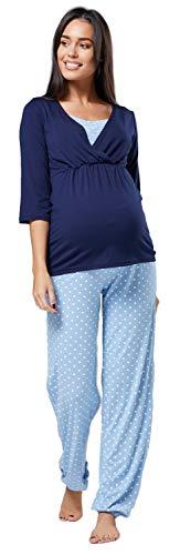 HAPPY MAMA. Para Mujer Pijama Premamá Embarazo Lactancia Ropa de Dormir. 060p (Azul Claro con Puntos, 38, M)