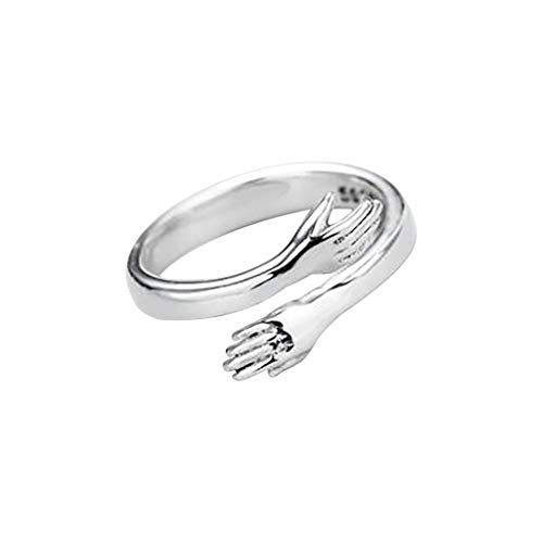 Orderking Hug Ring Hands,Silver Adjustable Rings for Women, Silver Color Rings for Women Wedding Party Jewelry Gift