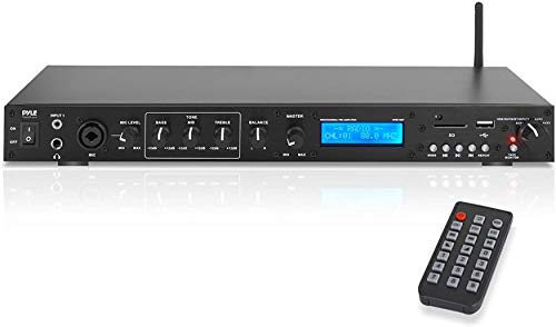 Pyle Rack Mount Studio Pre-Amplifier - Audio Receiver System w/Digital LCD Display Bluetooth FM Radio Recording Mode Remote Control USB Flash or SD Card Reader Input and Output Jack - PPRE70BT