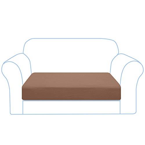 Granbest Funda de cojín para sofá de alta elasticidad, a rayas, jacquard, spandex, lavable a máquina (2 plazas, camel)