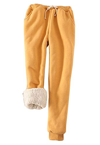 Flygo Womens Casual Winter Warm Fleece Pants Sherpa Lined Sweatpants Active Running Jogger Pants (X-Small, Yellow)