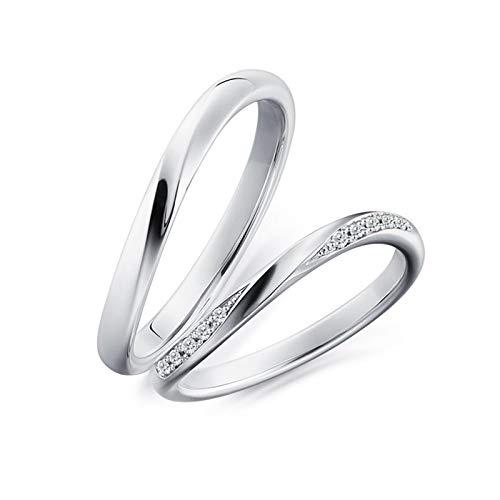 Epinki Anillo Oro Blanco 18k Redondo Diamante 0.06ct Anillos Hombre Boda