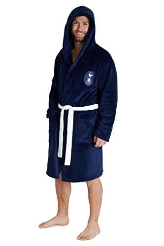 Tottenham Hotspur F.C. Mens Dressing Gowns, Men Spurs Fleece Hooded Robe S-3XL (Blue, L)
