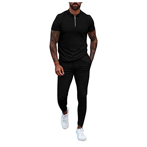 PHSHY Mens 2 Pieces Outfit Tracksuits Casual Zipper Short Sleeve Trousers Athletic Fitness Running Jogging Sweatsuits Black