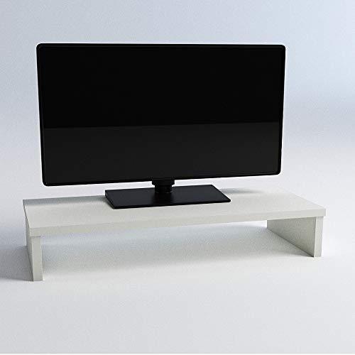 Soporte Madera Monitor Elevador de Pantalla TV 82x26.5x12 Cm Muebles de TV, Elevador Monitor, Soporte Monitor pc, Soporta 50Kg. Blanco