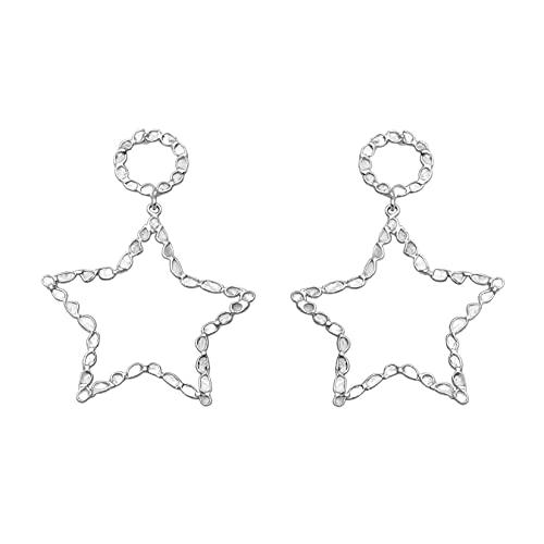 3.60 ctw pendientes de estrella hechos a mano de diamantes con rebanada de polki natural - plata de ley 925