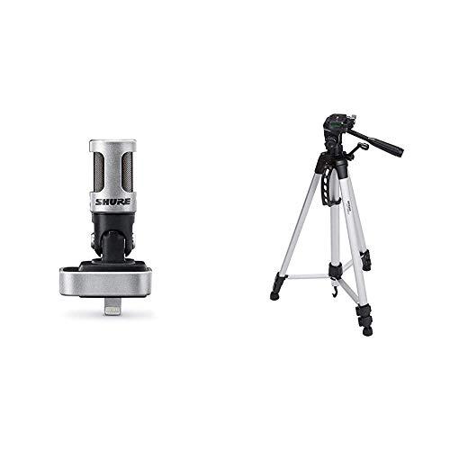 Shure Mv88/A Microphone Statique Numérique Stéréo & Amazon Basics Trépied ultraléger 152 cm avec Sac Inclus