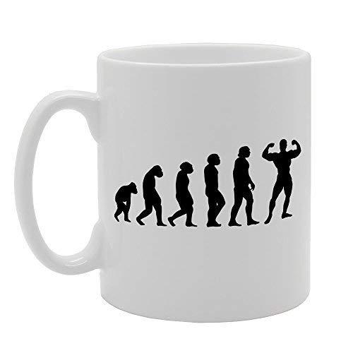 N\A Evolution Ape Man to Bodybuilder Tee Teebecher Einzigartiger lustiger Kaffee mit Sprüchen Becher Netter Becher 11oz Keramikbecher Geschenk Awesome