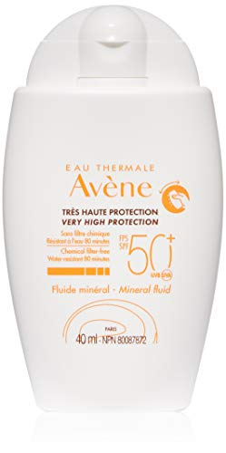 Eau Thermale Avene Mineral Fluid Sunscreen, Broad Spectrum SPF 50+, Water Resistant, Non-Greasy, 1.3 oz.