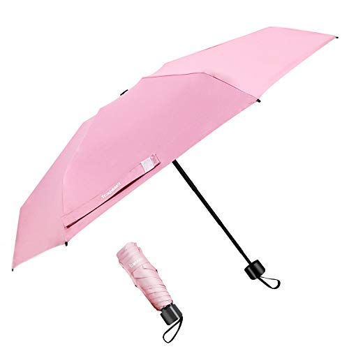 TradMall Mini Travel Umbrella, Portable Lightweight Compact Parasol with 95% UV Protection for Sun & Rain, Pink