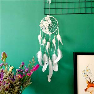 Shop-PEJ Nice Dream Dream catcher large dream catcher Handmade Feather Flower decoration wind chimes child room Wall Hanging dreamcatcher Home Decor for Wall Hanging Decoration (Color : White)