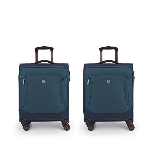 Gabol - Track | Juego de Maletas de Viaje de Tela con 2 Maletas de Cabina de Color Azul