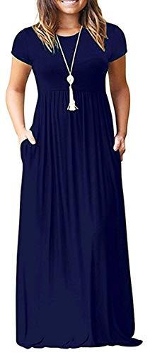 GULE GULE Damen Lange Kurzarm Maxi Lange Kleider mit Taschen - Blau - Mittel