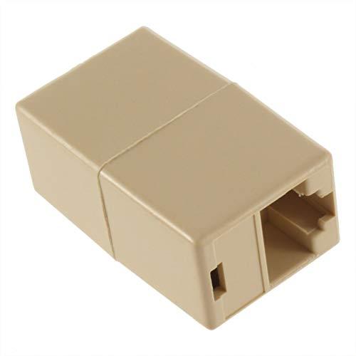 Puerto LAN 1 a 1 Adaptador de Conector Divisor de Enchufe Rj45 para Adaptador de Cable Ethernet Cat5 - Beige