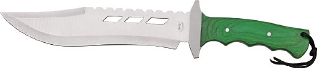 Frost Combat Fighter II Fixed Blade Knife, 9.875in, Bowie Style Blade, Green Pakkawood Handle