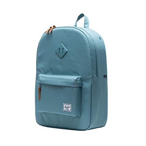 Herschel Heritage Backpack, Dark Chambray Crosshatch/Tan Synthetic Leather, Classic 21.5L