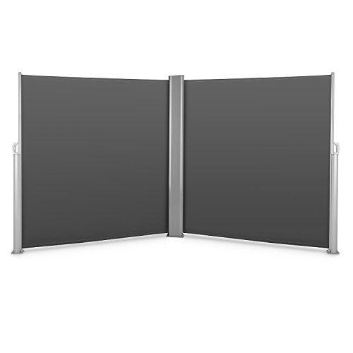 blumfeldt Bari Doppio 620 Toldo Lateral Doble 6x2,0 m Aluminio Antracita (Pantalla Anti Viento, Protector Sol sombrilla, protección Visual, marquesina Protectora, Separador jardín terraza)
