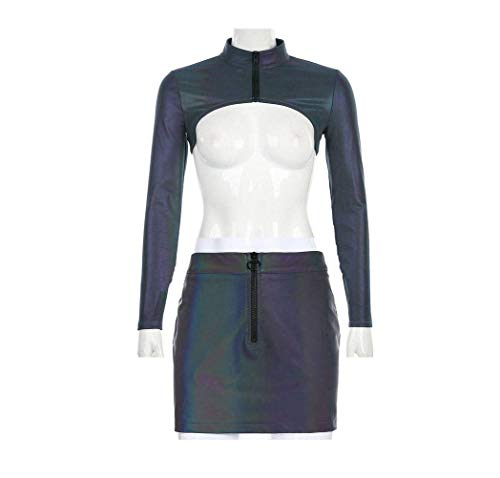 JUSTTIME Sports Street Mode Mensen Hoge kraag Slim Lange mouwen T-shirt Reflecterende Blouse Vrouwen S Smock